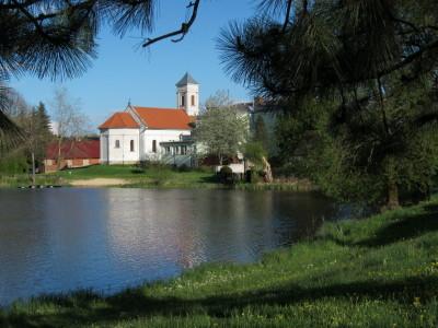 Pohled na kostel sv. Máří Magdalény v Blatu přes Dolní žišpašský rybník