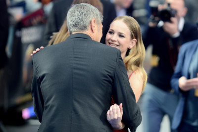 George Clooney and Britt Robertson attend the premiere of Tomorrowland: A World Beyond, at the Odeon Leicester Square, London.